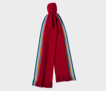 Double-Face Red Striped-Edge Wool Scarf
