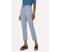 Slim-Fit Light Blue Stretch-Cotton Trousers