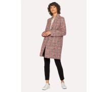 Navy And Red Cotton-Blend Tweed Cocoon Coat