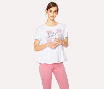 White Cotton T-Shirt with 'London Attractions' Print