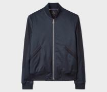 Navy Cotton-Blend Bomber Jacket