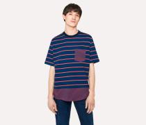 Navy Mixed-Stripe Organic-Cotton T-Shirt