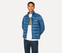 Blue Quilted Jacket With Reflective Zebra Logo