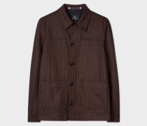 Brick Red Check Wool-Cashmere Work Jacket