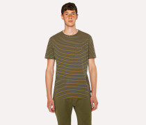 Ochre Yellow Stripe Cotton Pocket T-Shirt