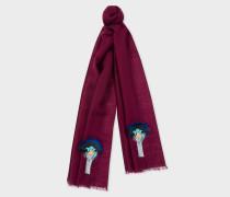Burgundy 'Ostrich' Embroidery Wool Scarf