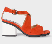 Orange Suede 'Ware' Heeled Sandals