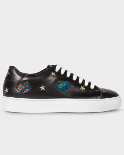 Black Leather 'Dreamer' Embroidered 'Basso' Trainers