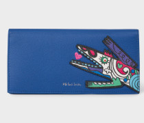 Blue 'Karami Crocodile' Appliqué Folded Leather Purse