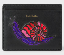 'Dreamer Snail' Print Leather Slip Card Holder