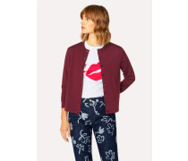 Burgundy 'Still Life Bouquet' Wool-Silk Cardigan