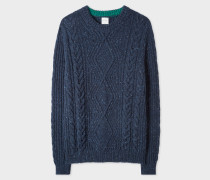 Navy Wool-Mohair Donegal Cable-Knit Sweater