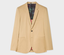 Slim-Fit Sand Cotton-Blend Two-Button Blazer