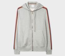 Grey Marl Zip-Front 'Artist Stripe' Hoodie