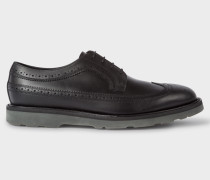 Black Leather 'Grand' Brogues With Rubber Soles