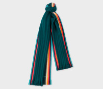 Dark Green 'Artist Stripe' Band Merino Wool Scarf