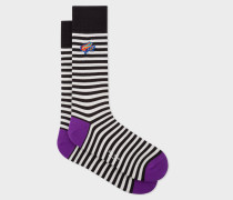Black And White Stripe Socks With 'Dreamer Frog' Embroidery
