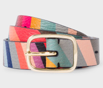 'Swirl' Print Calf Leather Belt