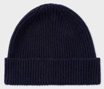 Navy Cashmere-Blend Ribbed Beanie Hat