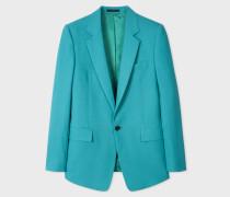 Slim-Fit Turquoise Hopsack Wool Blazer