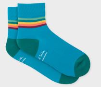 Blue 'Artist Stripe' Trim Cycling Socks