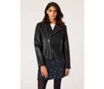 Black Leather Asymmetric Zip Biker Jacket