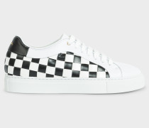 White Leather 'Checkerboard' Pattern 'Basso' Trainers