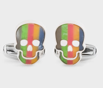 Multi-Colour Stripe Skull Mother-Of-Pearl Cufflinks