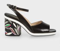 Black Leather 'Ellery' Heeled Sandals