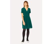Dark Green Wrap Silk Dress