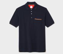 Slim-Fit Dark Navy Cotton-Piqué Polo Shirt With 'Artist Stripe' Pocket