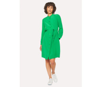 Green Silk Henley Shirt Dress