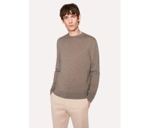 Taupe Crew-Neck Merino Wool Sweater