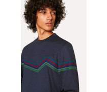 Navy 'Cycle Stripe' Embroidery Cotton-Blend Sweatshirt