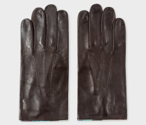 Chocolate Brown Leather 'Artist Stripe' Trim Gloves