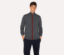 Grey Zip-Through Funnel-Neck Cardigan