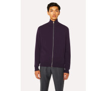 Violet Cashmere Zip-Through Cardigan