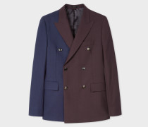 Pieced Damson And Navy Double-Breasted Blazer
