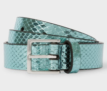 Turquoise Metallic Snake-Effect Leather Belt