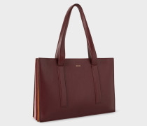 Burgundy 'Concertina' Small Leather Tote Bag