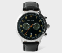 Black 'Precision' Chronograph Watch