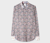 Paisley Print Shirt With Contrast Cuffs And Collar
