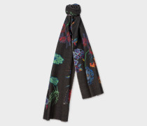 Black 'Florian' Print Wool-Cashmere Scarf With 'Floral Stripe' Reverse