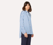 Blue And White Stripe Silk Shirt