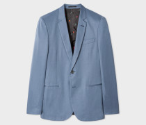 Mid-Fit Slate Blue Buggy-Lined Cotton-Linen Blazer