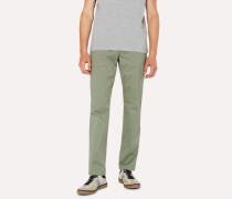 Tapered-Fit Light Green Stretch-Cotton Chinos