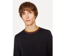 Navy Merino-Wool Sweater With 'Artist Stripe' Collar