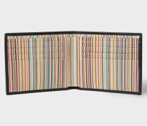 Black Leather Signature Stripe Interior Billfold Wallet