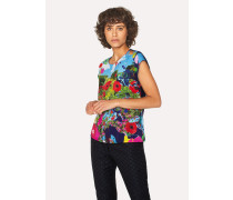 Black Sleeveless T-Shirt With 'Painted Garden' Print