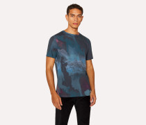 Blue Marble-Effect Cotton T-Shirt